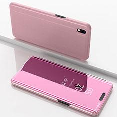 Custodia Portafoglio In Pelle Cover con Supporto Laterale Specchio Cover per Samsung Galaxy A10 Oro Rosa