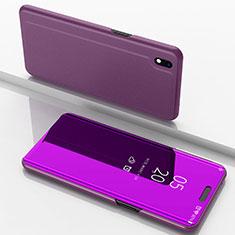 Custodia Portafoglio In Pelle Cover con Supporto Laterale Specchio Cover per Samsung Galaxy A10 Rosa Caldo
