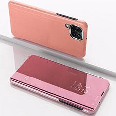 Custodia Portafoglio In Pelle Cover con Supporto Laterale Specchio Cover per Samsung Galaxy A12 Oro Rosa
