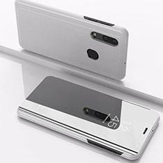 Custodia Portafoglio In Pelle Cover con Supporto Laterale Specchio Cover per Samsung Galaxy A30 Argento