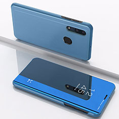 Custodia Portafoglio In Pelle Cover con Supporto Laterale Specchio Cover per Samsung Galaxy A30 Blu