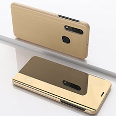 Custodia Portafoglio In Pelle Cover con Supporto Laterale Specchio Cover per Samsung Galaxy A30 Oro