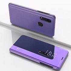 Custodia Portafoglio In Pelle Cover con Supporto Laterale Specchio Cover per Samsung Galaxy A30 Viola