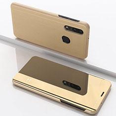 Custodia Portafoglio In Pelle Cover con Supporto Laterale Specchio Cover per Samsung Galaxy A40 Oro