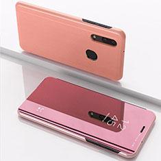 Custodia Portafoglio In Pelle Cover con Supporto Laterale Specchio Cover per Samsung Galaxy A40 Oro Rosa