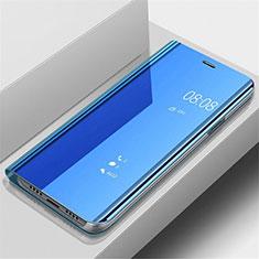 Custodia Portafoglio In Pelle Cover con Supporto Laterale Specchio Cover per Samsung Galaxy A70 Blu