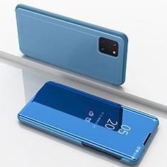 Custodia Portafoglio In Pelle Cover con Supporto Laterale Specchio Cover per Samsung Galaxy A81 Blu