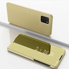 Custodia Portafoglio In Pelle Cover con Supporto Laterale Specchio Cover per Samsung Galaxy A81 Oro