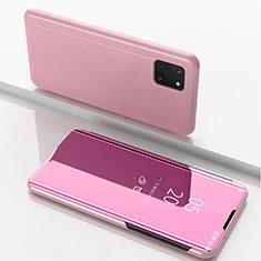 Custodia Portafoglio In Pelle Cover con Supporto Laterale Specchio Cover per Samsung Galaxy A81 Oro Rosa