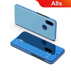 Custodia Portafoglio In Pelle Cover con Supporto Laterale Specchio Cover per Samsung Galaxy A8s SM-G8870 Blu