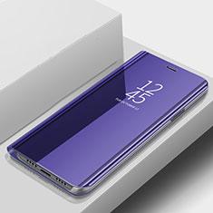 Custodia Portafoglio In Pelle Cover con Supporto Laterale Specchio Cover per Samsung Galaxy A9s Blu
