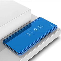 Custodia Portafoglio In Pelle Cover con Supporto Laterale Specchio Cover per Samsung Galaxy M21s Blu