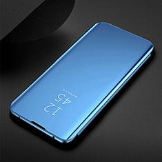 Custodia Portafoglio In Pelle Cover con Supporto Laterale Specchio Cover per Samsung Galaxy M30s Blu