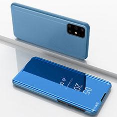 Custodia Portafoglio In Pelle Cover con Supporto Laterale Specchio Cover per Samsung Galaxy M51 Blu