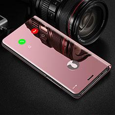 Custodia Portafoglio In Pelle Cover con Supporto Laterale Specchio Cover per Samsung Galaxy Note 10 Plus 5G Oro Rosa