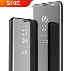 Custodia Portafoglio In Pelle Cover con Supporto Laterale Specchio Cover per Samsung Galaxy S10e Nero