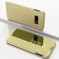 Custodia Portafoglio In Pelle Cover con Supporto Laterale Specchio Cover per Samsung Galaxy S10e Oro