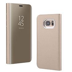 Custodia Portafoglio In Pelle Cover con Supporto Laterale Specchio Cover per Samsung Galaxy S7 Edge G935F Oro