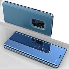 Custodia Portafoglio In Pelle Cover con Supporto Laterale Specchio Cover per Samsung Galaxy S9 Plus Blu