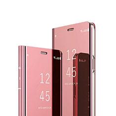 Custodia Portafoglio In Pelle Cover con Supporto Laterale Specchio Cover per Sony Xperia 1 Oro Rosa