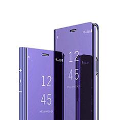Custodia Portafoglio In Pelle Cover con Supporto Laterale Specchio Cover per Sony Xperia 1 Viola