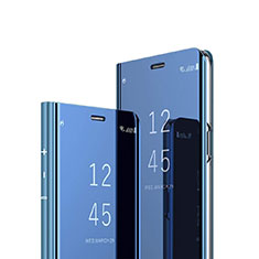 Custodia Portafoglio In Pelle Cover con Supporto Laterale Specchio Cover per Sony Xperia XZ4 Blu