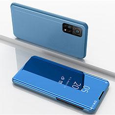Custodia Portafoglio In Pelle Cover con Supporto Laterale Specchio Cover per Xiaomi Mi 10T Pro 5G Blu