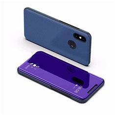 Custodia Portafoglio In Pelle Cover con Supporto Laterale Specchio Cover per Xiaomi Mi 8 Blu
