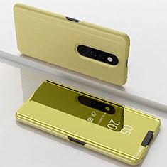 Custodia Portafoglio In Pelle Cover con Supporto Laterale Specchio Cover per Xiaomi Mi 9T Oro