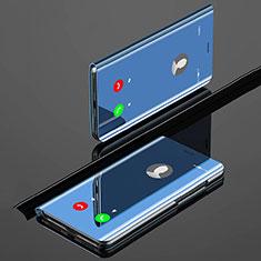 Custodia Portafoglio In Pelle Cover con Supporto Laterale Specchio Cover per Xiaomi Mi A3 Blu