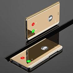 Custodia Portafoglio In Pelle Cover con Supporto Laterale Specchio Cover per Xiaomi Mi A3 Oro