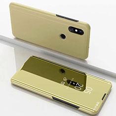 Custodia Portafoglio In Pelle Cover con Supporto Laterale Specchio Cover per Xiaomi Mi Mix 3 Oro