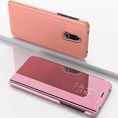 Custodia Portafoglio In Pelle Cover con Supporto Laterale Specchio Cover per Xiaomi Redmi 8 Oro Rosa