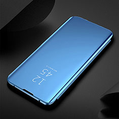Custodia Portafoglio In Pelle Cover con Supporto Laterale Specchio Cover per Xiaomi Redmi Note 8 Blu