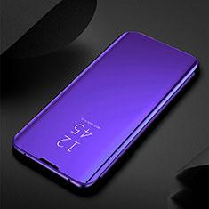 Custodia Portafoglio In Pelle Cover con Supporto Laterale Specchio Cover per Xiaomi Redmi Note 8 Viola