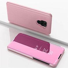 Custodia Portafoglio In Pelle Cover con Supporto Laterale Specchio Cover per Xiaomi Redmi Note 9 Oro Rosa