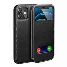 Custodia Portafoglio In Pelle Cover con Supporto N01 per Apple iPhone 12 Mini Nero