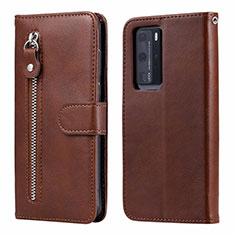 Custodia Portafoglio In Pelle Cover con Supporto N01 per Huawei P40 Pro Marrone