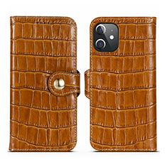 Custodia Portafoglio In Pelle Cover con Supporto N02 per Apple iPhone 12 Marrone