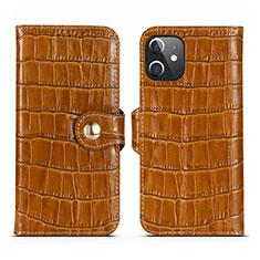 Custodia Portafoglio In Pelle Cover con Supporto N02 per Apple iPhone 12 Mini Marrone