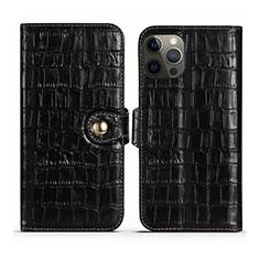 Custodia Portafoglio In Pelle Cover con Supporto N02 per Apple iPhone 12 Pro Nero
