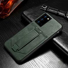 Custodia Portafoglio In Pelle Cover con Supporto N08 per Samsung Galaxy Note 20 5G Verde Notte