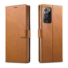 Custodia Portafoglio In Pelle Cover con Supporto N08 per Samsung Galaxy Note 20 Ultra 5G Marrone Chiaro