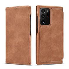 Custodia Portafoglio In Pelle Cover con Supporto N09 per Samsung Galaxy Note 20 Ultra 5G Marrone Chiaro