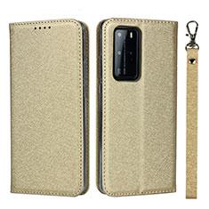 Custodia Portafoglio In Pelle Cover con Supporto N12 per Huawei P40 Pro Oro