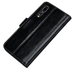 Custodia Portafoglio In Pelle Cover con Supporto P01 per Huawei P20 Pro Nero