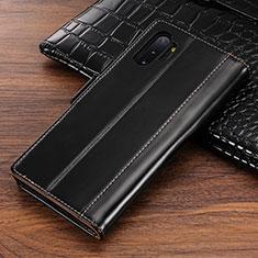 Custodia Portafoglio In Pelle Cover con Supporto P01 per Samsung Galaxy Note 10 Plus Nero