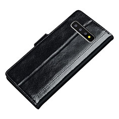 Custodia Portafoglio In Pelle Cover con Supporto P01 per Samsung Galaxy S10 Nero