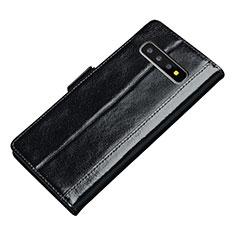 Custodia Portafoglio In Pelle Cover con Supporto P01 per Samsung Galaxy S10 Plus Nero