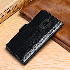 Custodia Portafoglio In Pelle Cover con Supporto P01 per Samsung Galaxy S9 Plus Nero